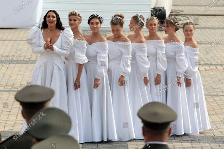 Stock Picture of People's Artist of Ukraine  Jamala (L) performs during the 29th Independence Day celebration in Sofiiska Square, Kyiv, capital of Ukraine.