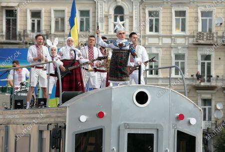 Singer Verka Serduchka (Andrii Danylko) performs on top a platform during the 29th Independence Day celebration in Sofiiska Square, Kyiv, capital of Ukraine.