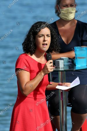 Stock Picture of Manon Aubry, Mathilde Panot.  French leftist La France Insoumise (LFI) party's member of European Parliament, Manon Aubry gestures as he delivers a speech on the closing day of LFI summer party conference AMFIS 2020.