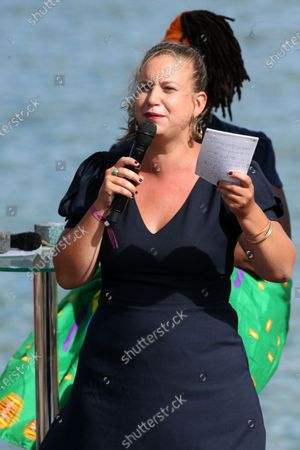 Editorial image of Daniele Obono delivers a speech on the closing day of LFI summer party, Chateauneuf sur Isere, France - 23 Aug 2020