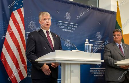Deputy Secretary of State Stephen Biegun, left, speaks as Lithuania's Minister of Foreign Affairs Linas Linkevicius listens during a press conference in the Ministry of Foreign Affairs in Vilnius, Lithuania