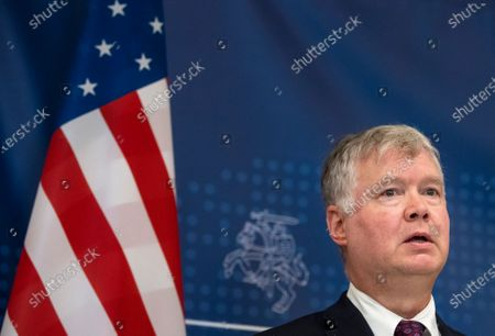 Stock Image of Deputy Secretary of State Stephen Biegun talks with the press, after meeting with Lithuania's Foreign Minister Linas Linkevicius in Vilnius, Lithuania