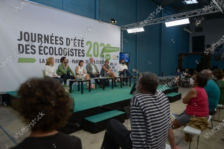Plenary meeting to get out of the economic and social crisis during the 3rd day of EELV's Summer Days, with Pierre Cannet, advocacy director, WWF, Yannick Jadot MEP Verts-ALE, Marie-Claire Cailletaud President of the CGT group at the Economic, Social and Environmental Council CESE, Jean-Marc Governatori National co-secretary Independent ecologist Alliance, Eva Sas Spokesperson of EELV, Anne-Claire Jarry-Bouabid, elected regional, vice-president of the Alternative Ecologiste et Sociale group at the Ile-de-France regional council,