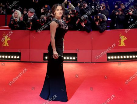 "Salma Hayek-Pinault arrives at the red carpet for ""The Roads Not Taken"" at the 2020 Berlinale Film Festival, in Berlin. Hayek turns 54 on Sept. 2"