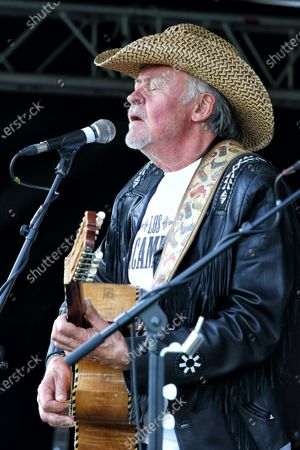Stock Picture of Paul Young of Los Pacaminos musical group performs live on stage at Hatfield Park.