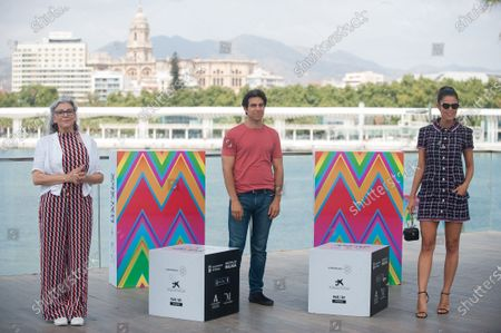 Spanish actress Kiti Manver, film director Bernabe Rico and Juana Acosta attend the El Inconveniente photocall at Muelle Uno in Malaga.