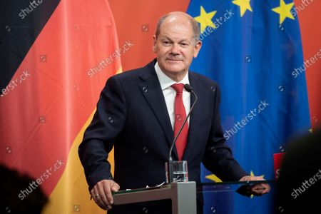German Minister of Finance and Social Democratic Party (SPD) candidate for chancellor Olaf Scholz during a press conference with the leader of Austrian Social Democratic Party (SPOe) Pamela Rendi-Wagner, at the office building 'Pavilion Ring' of the temporary parliament building in Vienna, Austria, 24 August 2020. Scholz is on a two-day visit in Vienna to meet the German speaking Finance Ministers on 25 August 2020.