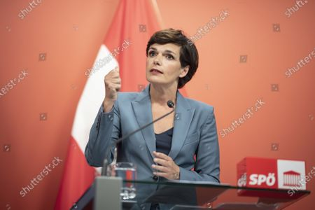 Leader of Austrian Social Democratic Party (SPOe) Pamela Rendi-Wagner speaks during a press conference with German Minister of Finance and Social Democratic Party (SPD) candidate for chancellor Olaf Scholz, at the office building 'Pavilion Ring' of the temporary parliament building in Vienna, Austria, 24 August 2020. Scholz is on a two-day visit in Vienna to meet the German speaking Finance Ministers on 25 August 2020.