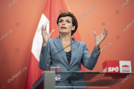 Stock Image of Leader of Austrian Social Democratic Party (SPOe) Pamela Rendi-Wagner speaks during a press conference with German Minister of Finance and Social Democratic Party (SPD) candidate for chancellor Olaf Scholz, at the office building 'Pavilion Ring' of the temporary parliament building in Vienna, Austria, 24 August 2020. Scholz is on a two-day visit in Vienna to meet the German speaking Finance Ministers on 25 August 2020.