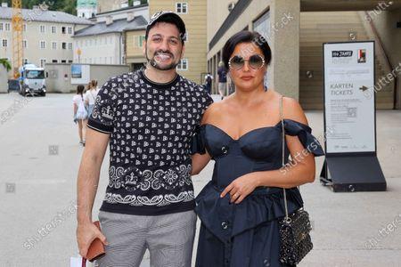 Singer Anna Netrebko and her husband Yusif Eyvazov after rehearsal for their performance at Salzburg Festival 2020.