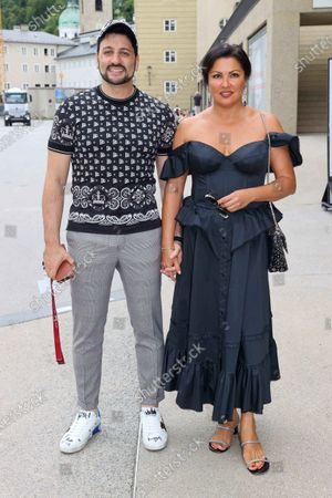 Stock Picture of Singer Anna Netrebko and her husband Yusif Eyvazov after rehearsal for their performance at Salzburg Festival 2020.