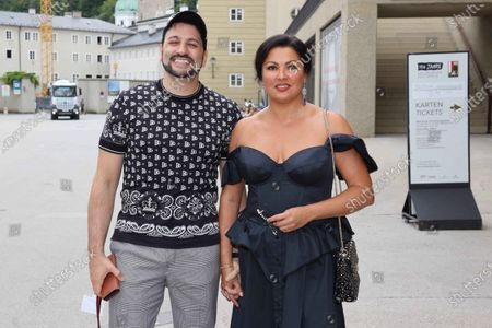 Editorial image of Anna Netrebko and her husband Yusif Eyvazov after rehearsal for Salzburg Festival 2020, Great Festival House, Salzburg, Austria - 24 Aug 2020