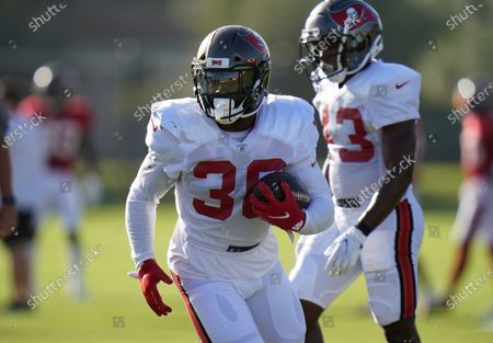 Stock Image of Tampa Bay Buccaneers running back Ke'Shawn Vaughn (30) during an NFL football training camp practice, in Tampa, Fla