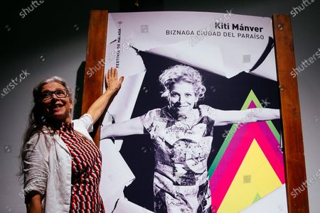 Kiti Manver poses as this year's awarded of the Biznaga Ciudad del Paraiso prize that recognizes 'essentials in the Spanish cinema' at the 23rd edition of Malaga Film Festival in Malaga, Spain, 24 August 2020.