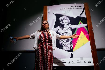 Kiti Manver poses as this year's awardee of the Biznaga Ciudad del Paraiso prize that recognizes 'essentials in the Spanish cinema' at the 23rd edition of Malaga Film Festival in Malaga, Spain, 24 August 2020.