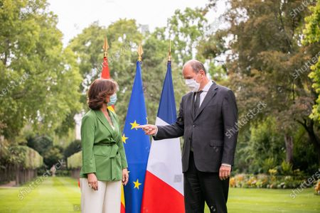 Stock Image of French Prime Minister, Jean Castex and First Vice-President of the Government of the Kingdom of Spain, Carmen Calvo Poyato