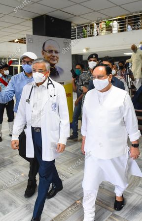 """Stock Picture of BJP National President J P Nadda (R) with AIIMS Director Randeep Guleria (L) during a blood donation camp organized to mark the first death anniversary of former finance minister Arun Jaitley, at AIIMS Hospital on August 24, 2020 in New Delhi, India. Remembering former Union Minister and senior BJP leader Arun Jaitley on his first death anniversary, Prime Minister Narendra Modi on Monday said, """"I miss my friend a lot."""" Arun Jaitley had died at Delhi's AIIMS last year."""