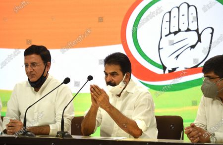 Congress leaders KC Venugopal with Randeep singh Surjewala during press conference at AICC HQ  on August 24, 2020 in New Delhi, India. After a letter complaining about the drift in the party and the leadership vacuum, the Gandhis gathered forces and got the Congress Working Committee (CWC) to pass a resolution endorsing Sonia Gandhi as the Interim President.