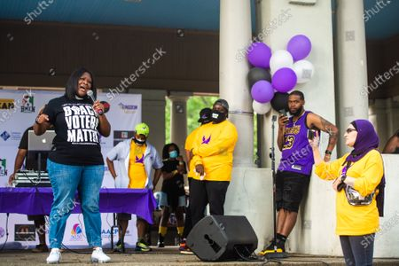 Stock Image of Anita Baker, the lawyer for the family of Breonna Taylor speaks at the Bre-B-Q during the second day of BreonnaCon at Shawnee Park on August 23, 2020 in Louisville, Kentucky after the death of Breonna Taylor .