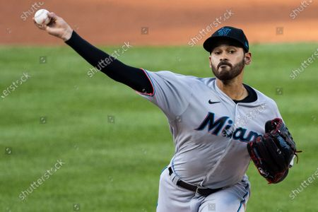 Miami Marlins starting pitcher Pablo Lopez throws during the first inning of a baseball game against the Washington Nationals in Washington
