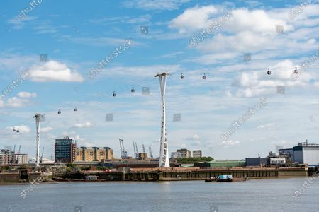 The Emirates Air Line cable car link across the River Thames in London.