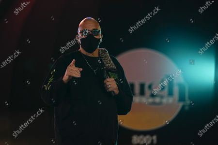 Comedian Sinbad speaks during a candlelight vigil for Elijah McClain outside Laugh Factory in Los Angeles, . McClain died in 2019 after he was stopped while walking to his apartment by three Aurora, Colo., police officers