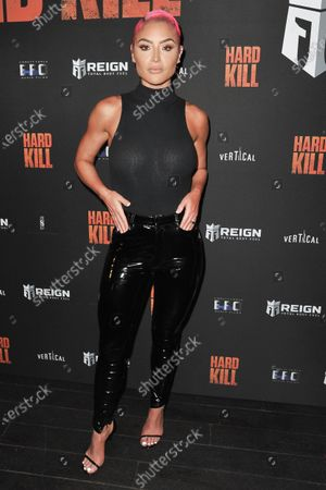 "Stock Photo of Natalie Eva Marie arrives at a screening of ""Hard Kill"" at the Hollywood Palladium, in Los Angeles"