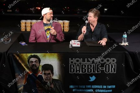 """Kevin Smith, left, and Ralph Garman participate in the """"Hollywood Babble-On"""" podcast at the Vineland drive-in, in Industry, Calif"""
