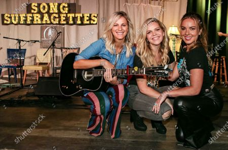 Stock Picture of Jennifer Wayne, Natalie Stovall and Naomi Cooke of Runaway June pose onstage at The Listening Room Cafe on August 24, 2020 in Nashville, Tennessee.