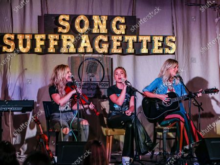 Stock Photo of Natalie Stovall, Naomi Cooke and Jennifer Wayne of Runaway June perform onstage at The Listening Room Cafe on August 24, 2020 in Nashville, Tennessee.