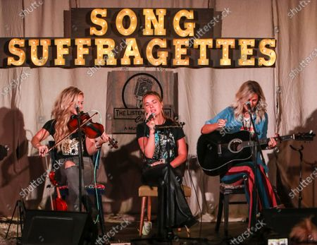 Natalie Stovall, Naomi Cooke and Jennifer Wayne of Runaway June perform onstage at The Listening Room Cafe on August 24, 2020 in Nashville, Tennessee.