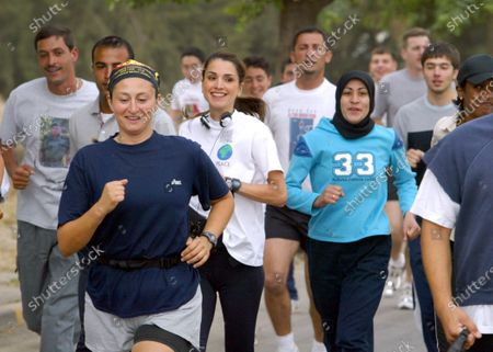 Queen Rania taking part in a Charity Run fundraiser in support of the Society of Neurological Patients - 30th May 2003