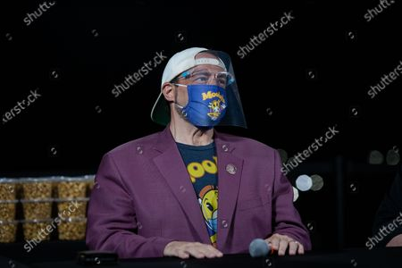 Kevin Smith wears a face mask and face shield while attending a drive-in movie at the Hollywood Babble-On 10th Anniversary Drive-In Bash in City of Industry, California, USA, 24 August 2020.