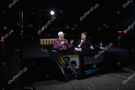 Stock Image of Kevin Smith (L) and US radio host Ralph Garman (R) attend a drive-in movie at the Hollywood Babble-On 10th Anniversary Drive-In Bash in City of Industry, California, USA, 24 August 2020.