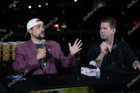 Kevin Smith (L) and US radio host Ralph Garman (R) attend a drive-in movie at the Hollywood Babble-On 10th Anniversary Drive-In Bash in City of Industry, California, USA, 24 August 2020.