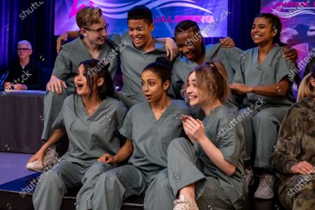Back row, Tyler Hutchings as Robby G., Neil Robles as Chris Royo, Nathaniel Scarlettte as DJ Tapes and Indiana Mehta as Priya. Front row, Bianca Asilo as Raven, Liza Koshy as Jasmine Hale and Sabrina Carpenter as Quinn Ackerman