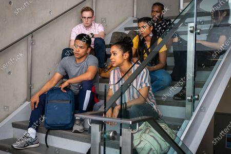 Stock Photo of Neil Robles as Chris Royo, Tyler Hutchings as Robby G., Liza Koshy as Jasmine Hale, Indiana Mehta as Priya. Nathaniel Scarlettte as DJ Tapes and Bianca Asilo as Raven