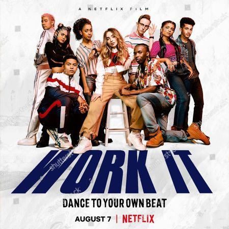 Stock Picture of Work It (2020) Poster Art. Keiynan Lonsdale as Julliard Pembroke, Bianca Asilo as Raven, Neil Robles as Chris Royo, Liza Koshy as Jasmine Hale, Sabrina Carpenter as Quinn Ackerman, Tyler Hutchings as Robby G., Nathaniel Scarlettte as DJ Tapes and Indiana Mehta as Priya and Jordan Fisher as Jake Taylor