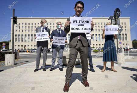 Editorial image of Protest by exiled Hong Kong student activist Nathan Law, Rome, Italy - 25 Aug 2020