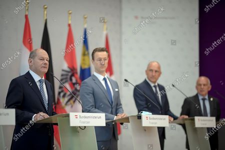 Swiss Finance Minister and Federal Councillor Ueli Maurer (R), Liechtenstein Finance Minister Klaus Tschutscher (2-R), German Finance Minister Olaf Scholz (L) and Austrian Finance Minister Gernot Bluemel (3-R) during a press conference of the German Speaking Countries's Finance ministers meeting in Vienna, Austria, 25 August 2020. The ministers will discuss on the finance situation between Austria, Lichtenstein, Luxembourg, Germany and Switzerland.