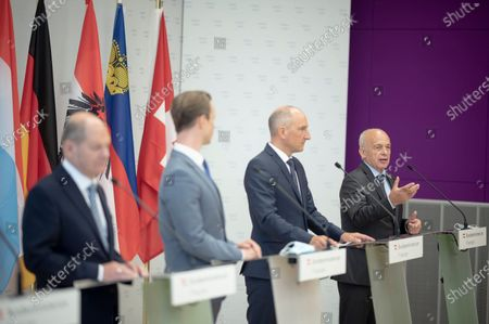 Swiss Finance Minister and Federal Councillor Ueli Maurer (R), Liechtenstein Finance Minister Klaus Tschutscher (2-R), German Finance Minister Olaf Scholz (2-L) and Austrian Finance Minister Gernot Bluemel (3-R) during a press conference of the German Speaking Countries's Finance ministers meeting in Vienna, Austria, 25 August 2020. The ministers will discuss on the finance situation between Austria, Lichtenstein, Luxembourg, Germany and Switzerland.