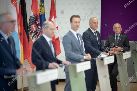 Swiss Finance Minister and Federal Councillor Ueli Maurer (R), Liechtenstein Finance Minister Klaus Tschutscher (2-R), German Finance Minister Olaf Scholz (2-L), Luxembourg's Finance Minister Pierre Gramegna (L) and Austrian Finance Minister Gernot Bluemel (3-R) during a press conference of the German Speaking Countries's Finance ministers meeting in Vienna, Austria, 25 August 2020. The ministers will discuss on the finance situation between Austria, Lichtenstein, Luxembourg, Germany and Switzerland.