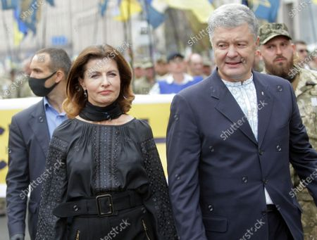 MP Petro Poroshenko and his wife Maryna Poroshenko are pictured during the Independence March on the 29th Independence Day, Kyiv, capital of Ukraine.