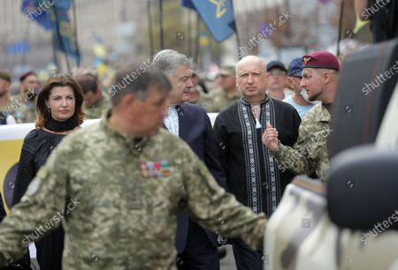 Maryna Poroshenko, MP Petro Poroshenko and European Solidarity party headquarters chief Oleksandr Turchynov (L to R) partake in the Independence March on the 29th Independence Day, Kyiv, capital of Ukraine.