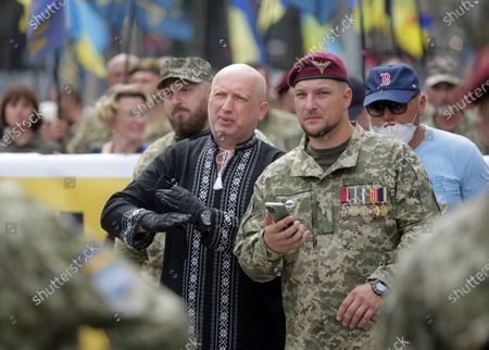 European Solidarity party headquarters chief Oleksandr Turchynov (L) is pictured during the Independence March on the 29th Independence Day, Kyiv, capital of Ukraine.