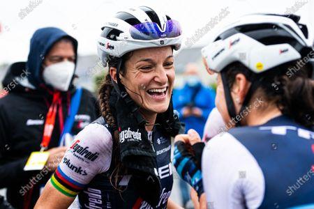 Lizzie Deignan of Trek Segafredo celebrates her win.