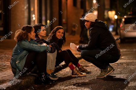 Stock Picture of Quintessa Swindell as Tabitha Foster Brianna Hildebrand as Elodie Davis, Kiana Madeira as Moe Truax and Sara St. Onge Director