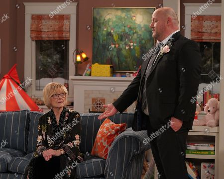 Stock Photo of Jane Curtin as Sandy and Will Sasso as Bill