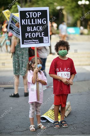 A young protester attends the Justice for Jacob Blake protest in Union Square. Unarmed Blake was shot by police in Kenosha, Wisconsin.