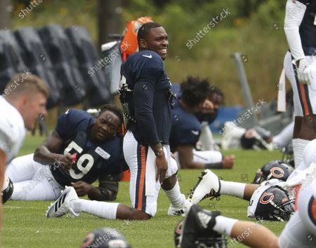 Chicago Bears safety Eddie Jackson, center, smiles during NFL football training camp, at Halas Hall in Lake Forest, Ill